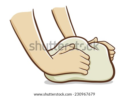 Hands kneading dough - stock vector
