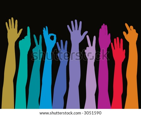 Hands of all races rainbow - stock vector