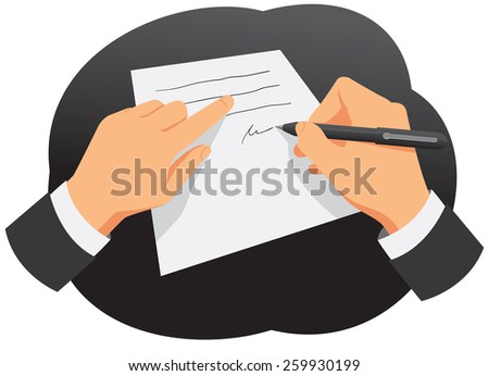Hands of businessman are signing the contract - stock vector