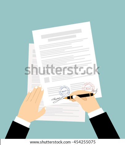 Hands of businessman are signing the contract. Vector illustration in flat design - stock vector