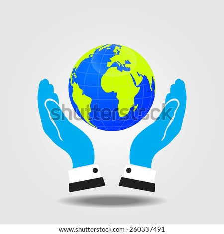 Hands of businessman holding a green earth.  - stock vector