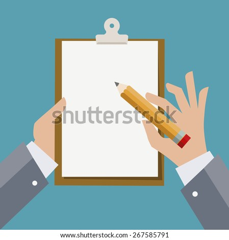 Hands of businessman holding clipboard with sheet of paper and pencil. Vector illustration.  - stock vector