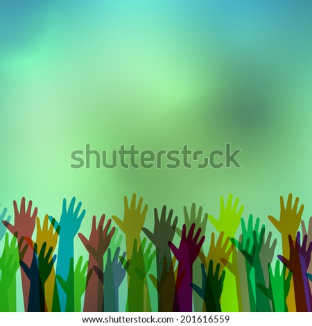 Hands of different colors. cultural and ethnic diversity on abstract background - stock vector