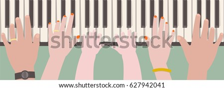 Hands of father, mother and kid playing piano together from top view in cartoon style