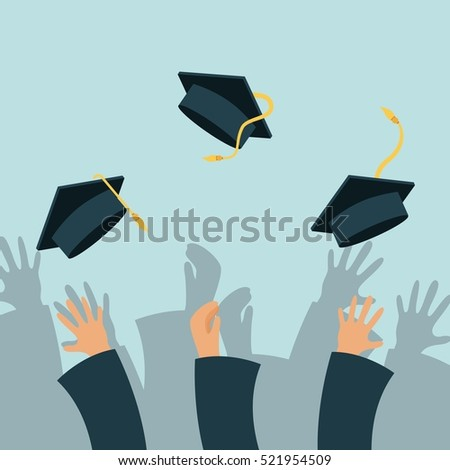 Hands of graduates throwing graduations hats. colorful design. vector illustration