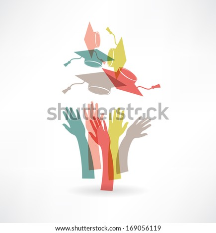 hands of students icon - stock vector