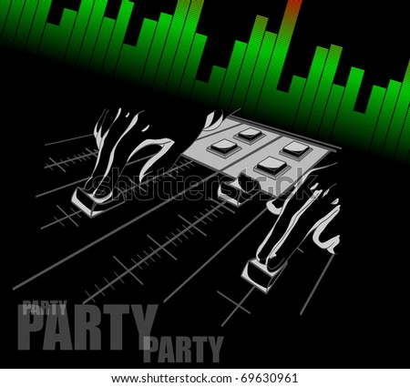 Hands of the DJ over a mixer panel. A background for a party. An abstract illustration. - stock vector