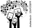 hands of the people hold the phone, laptop, tablet and surrounded by icons of the Internet - stock vector