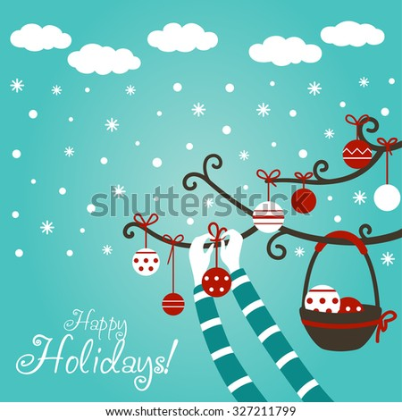 Hands of young girl or boy decorating Christmas tree with holiday toys. Cute winter holiday background with blue sky, snowflakes and clouds. Stylish Christmas and new year vector illustration. - stock vector
