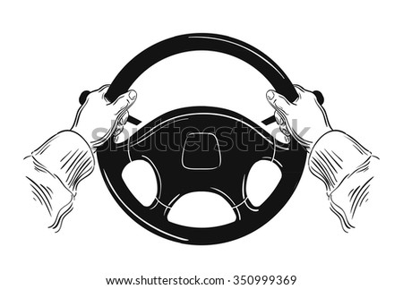 hands on car steering wheel isolated on white background