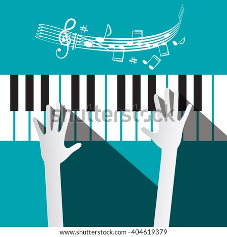 Hands on Piano Keyboard with Stuff and Notes on Blue Background - stock vector