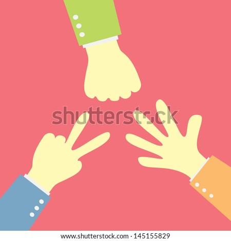 Hands playing paper rock scissors - stock vector