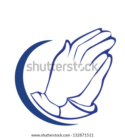 Hands praying silhouette icon vector - stock vector
