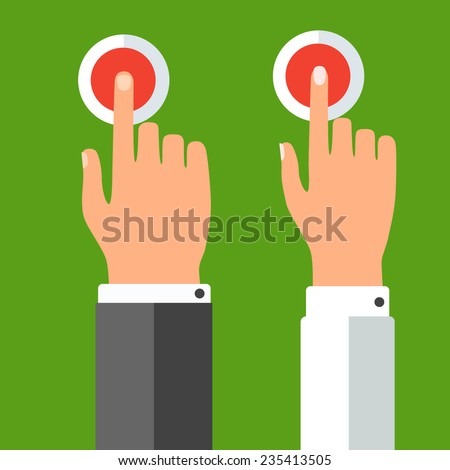 Hands pressing the buttons - stock vector