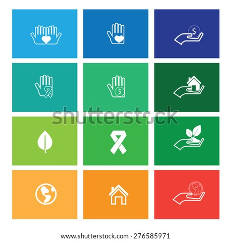 Hands protect and care icons windows