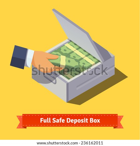 Hands putting cash stack to a safe deposit box. Flat style illustration. EPS 10 vector. - stock vector