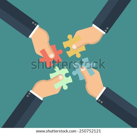 Hands putting puzzle pieces together. Teamwork concept. Flat design - stock vector