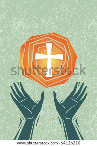 Hands raised in praise and prayer, with cross in the sky. Christian religious theme illustration. All elements including texture pattern on separate layers for easy editing. - stock vector