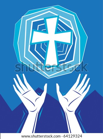 Hands raised in praise and prayer, with cross in the sky, mountains in background. Christian religious theme illustration. All elements on separate layers for easy editing. - stock vector