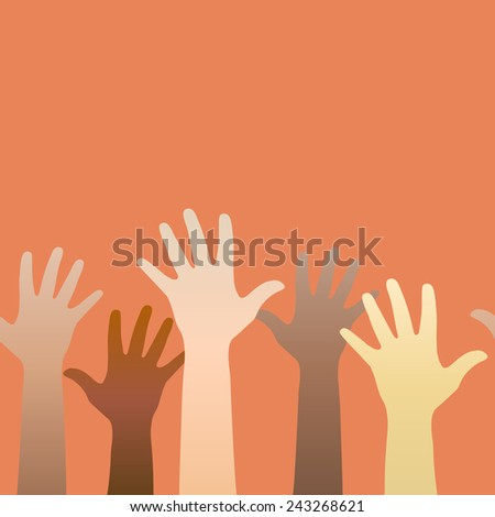 Hands raised up. Concept of volunteerism, multi-ethnicity, equality, racial and social issues. Horizontally seamless. Vector illustration - stock vector