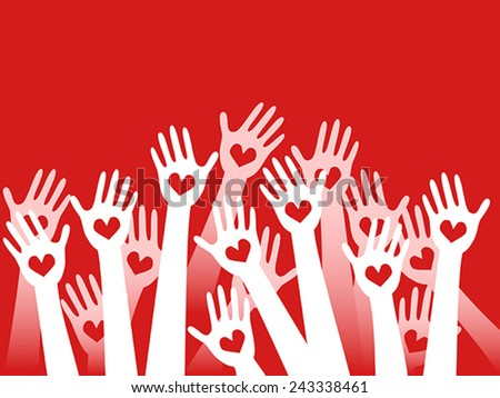 hands raised with hearts - stock vector