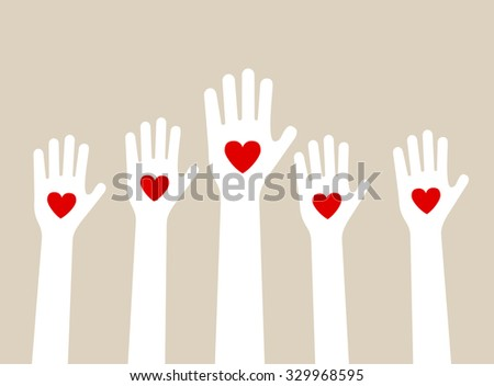 hands raising love with heart - stock vector