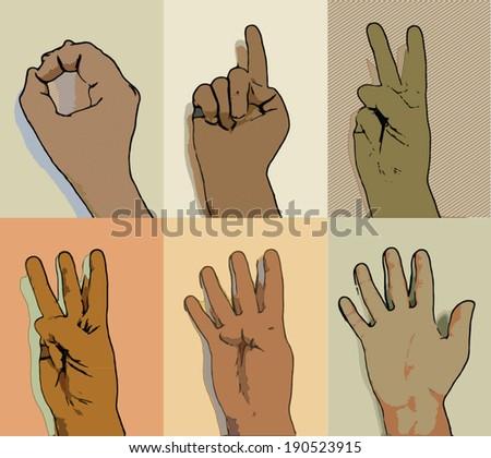 Hands set. Numbers.  - stock vector