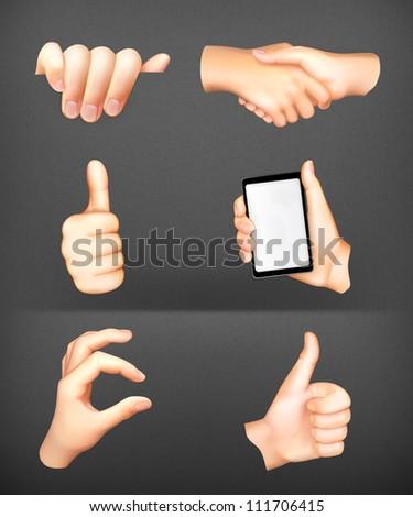 Hands set vector - stock vector
