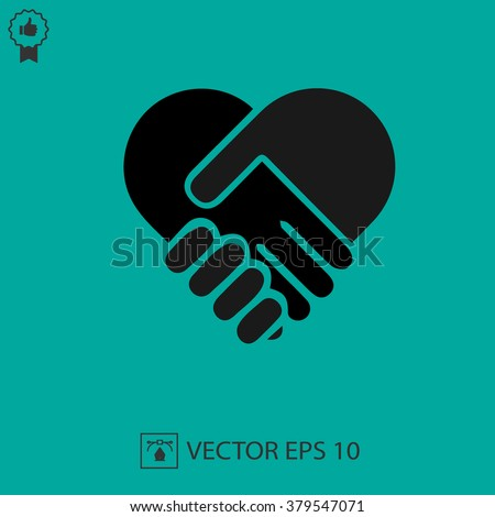 hands shaking forming heart hand vector stock vector