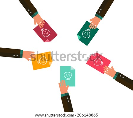 Hands sharing ideas paper. brainstorming concept design. flat vector illustration - stock vector