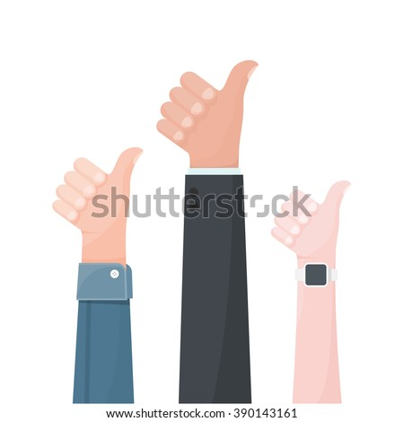Hands show thumbs up. - stock vector
