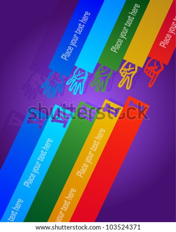 Hands showing abstract number line background - stock vector