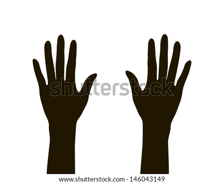 hands silhouette - stock vector