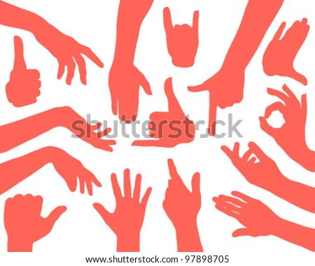 hands silhouettes and sky-vector - stock vector