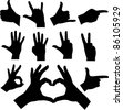 hands silhouettes - vector - stock vector