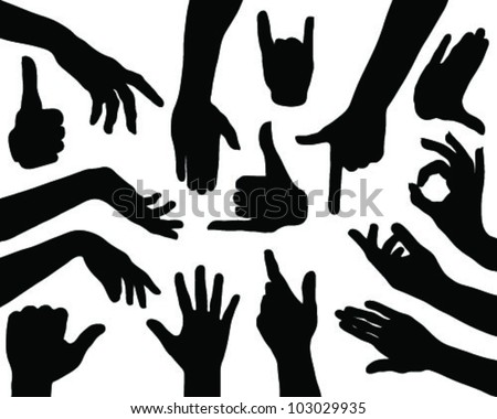 Hands silhouettes 2-vector - stock vector