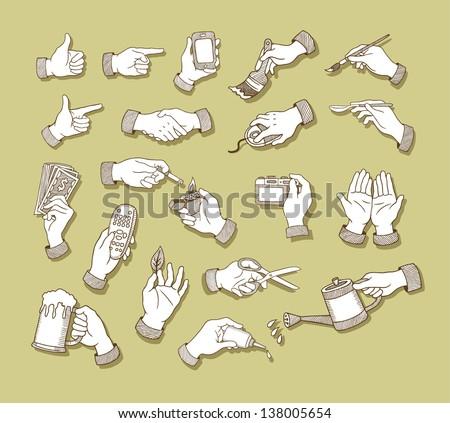 Hands Sketch 1 Hand Signs Activity Stock Vector 138005654 - Shutterstock