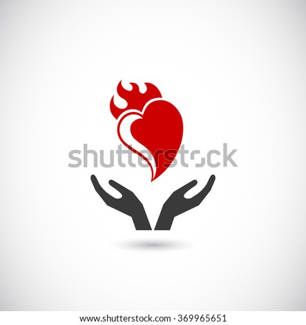 hands support heart with flame - web icon - stock vector