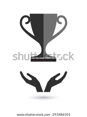 hands support trophy cup prize icon - stock vector
