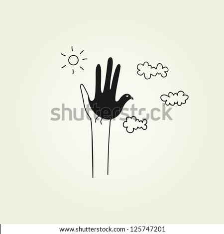 hands symbolizing a dove - stock vector