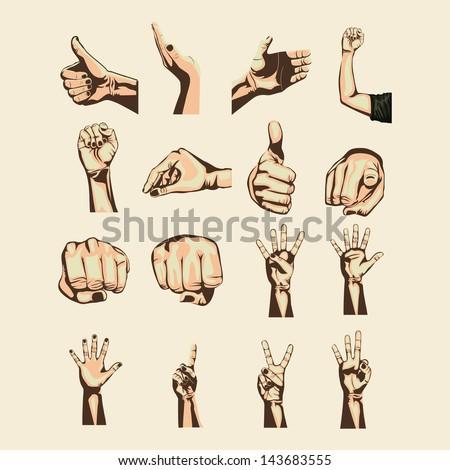 hands symbols over pink background vector illustration - stock vector