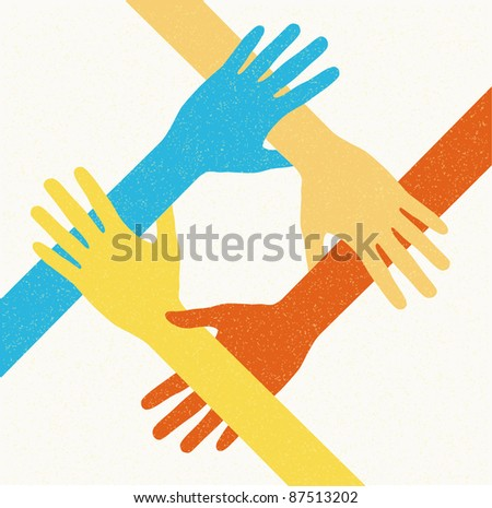 hands teamwork. connecting concept. Vector illustration - stock vector