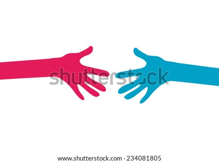 hands together - stock vector