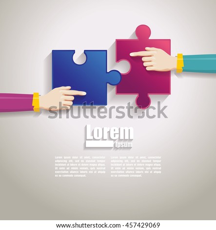 hands together team work. Hands putting puzzle pieces. Teamwork and bussiness concept. - stock vector