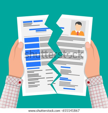 hands torn in half cv profile rejected resume concept human resources management concept - Resume Professional
