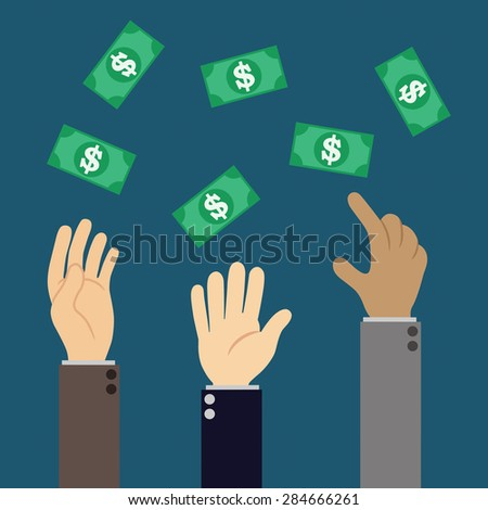 hands trying to catch dollar banknotes - stock vector