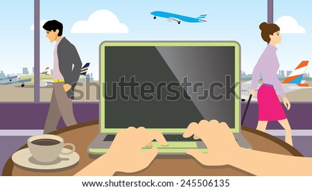 Hands typing on a laptop over looking airport lounge - stock vector
