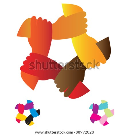 Hands unity which symbolize the unity of the work or life - stock vector