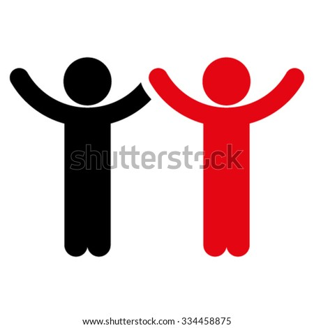 Hands Up Children vector icon. Style is bicolor flat symbol, intensive red and black colors, rounded angles, white background.