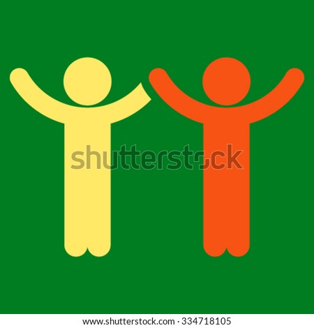 Hands Up Children vector icon. Style is bicolor flat symbol, orange and yellow colors, rounded angles, green background.